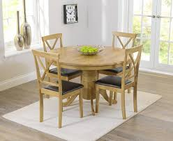 elstree 120cm oak round dining table 4 chairs