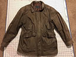 peter england leather brown jacket coat m medium zipper vintage er aviation 1 of 11only 1 available