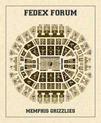 Vintage Print Of Fedex Forum Seating Chart On Premium Photo Luster Paper Heavy Matte Paper Or Stretched Canvas Free Shipping