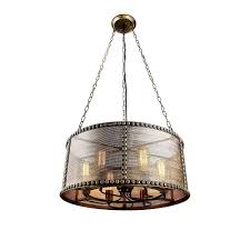 copper brass wire shade mesh chandelier pendant ceiling light lightingmust