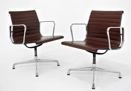 charles ray eames for vitra pair of vintage ea108 chairs with rotating leather seat