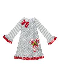 Gray Tile Print Dress With Christmas Candy Cane Counting Daisies Baby Girls 12 24m