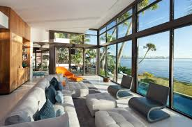 Sofas Living Room Glass Walls Waterfront Residence In Coral