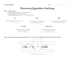 balancing equations practice worksheet answer key chemical answers
