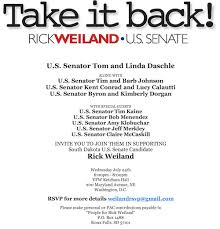 political fundraiser invite daschle johnson conrad dorgan to host weiland