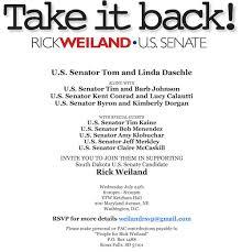 political fundraiser invite daschle johnson conrad dorgan to host weiland