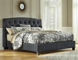 Ashley Furniture Kasidon Dark Grey King Upholstered Button Tufted Bed