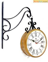 artshai metal station clock 8 inch station clock with quality movement 2 side clock