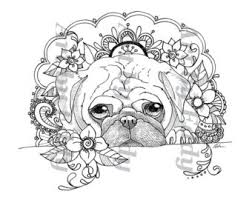 Small Picture Art of Pug Coloring Book Volume No1 Downloadable Version