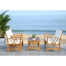 safavieh fontana beige acacia wood 4 piece outdoor furniture