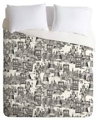 deny designs sharon turner walking doodle toile de jouy duvet cover contemporary duvet covers and duvet sets by deny designs