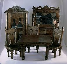 dollhouse dining room furniture. the set includes 3 chairs there should be one more but itu0027s gone missing table buffet and china cabinet have leatherette seats dollhouse dining room furniture