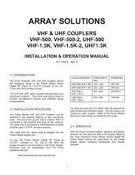 Manual For Vhf Uhf Couplers Array Solutions