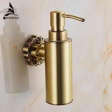 Liquid Soap Dispensers <b>Antique Brass Wall Mounted</b> Shampoo ...