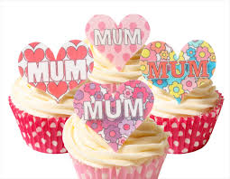 12 Pre Cut Edible Rice Wafer Card Mum Mothers Day Cupcake Toppers