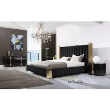 Black modern bedroom sets Cheap Modrest Token Modern Black Gold Bedroom Set Vig Furniture Modern Bedroom Bedroom