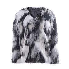 women s black and white mottled faux fur coat