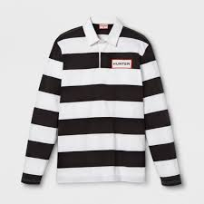 hunter for target mens striped polo rugby long sleeve shirt white black medium for