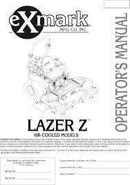 exmark ultra vac lazer z hp mower operator s manual