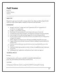 Ccna Resume Resume Templates