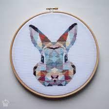 Canevas Moderne Design Geometric Bunny Cross Stitch Pattern Pdf Instant Download