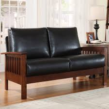 Mission Living Room Furniture Oxford Creek Marlin Mission Inspired Loveseat In Brown Faux