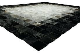 black hide rug white gray and black patchwork cow hide rug in squares solid black cowhide