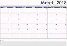 March 2018 Calendar Fillable Printable Template