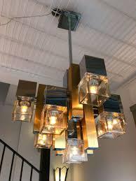 italian cubic chandelier by gaetano sciolari for stilkronen 1970s