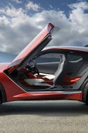awesome red car with open doors to view