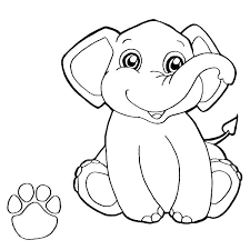 Coloring Baby Elephant Coloring Pages Cute Page Print Out Coloring