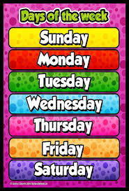 Idecor Days Of The Week Chart For Kids Child Learning Wall Poster For Room School Size 12x18 With Matte Finish 300 Gsm Quality