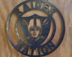 raider nation steel sign on raiders metal wall art with raiders logo wall hanging