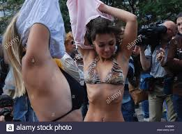 Girls stripping down to bikinis