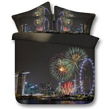 seaside city fireworks 3d printed bedding sets twin full queen king size bedspreads bedclothes duvet covers night view fashion design 3 bedroom bedding sets