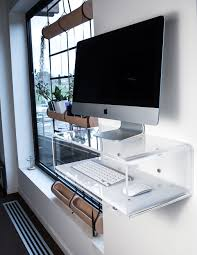 Elegant and modern transparent acrylic console for iMac, and desktop. Ideal  for use with iMac