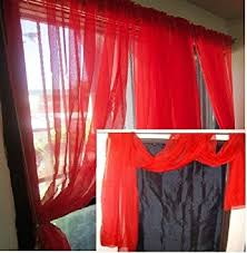 "MONAGIFTS BRIGHT RED Scarf Voile Window Panel Solid sheer valance curtains  216"" ..."