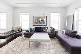 cream rug living room contemporary with arc lamp barcelona beige fur rug black