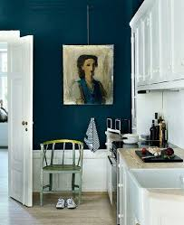 Add drama to a white kitchen with a peacock blue wall & original art - Wall