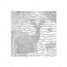 Kleurplaat Zomer In Het Bos Stockvector Rakushka13sell 117583032