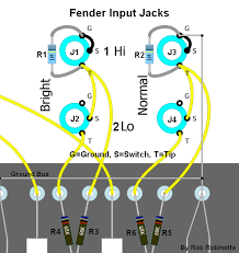 input jacks component numbers on this layout diagram match the schematics on this page resistors r1 and r2 ered directly to the hi input jacks are input