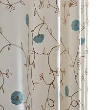 Anady Top Blue Flower Blackout Lined Curtains 2 Panel White Curtains Drapes for Bedroom Grommet 96 inch Long 2017 New