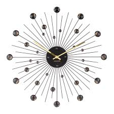 sunburst crystal large wall clock 50cm black