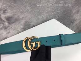 gg leather belt with double g buckle cyan 30mm
