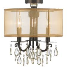 crystorama lighting group 5623 ch polished chrome hampton 3 light 14 wide drum chandelier with etruscan smooth teardrop almond crystals