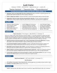 Teacher Aide Resume Objectivees Assistant Sample Skills Special