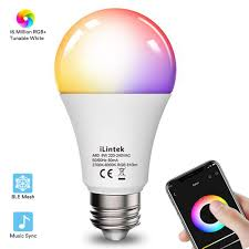 Beat Sync Lights Uk Ilintek Colour Changing Light Bulb Bluetooth E27 Dimmable 9w 65w Equivalent Sync To Music Rgbw Color Led Light Bulb With App Dimmable Multi Color
