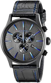 nixon men s a4052153 sentry chrono black stainless steel watch with genuine leather band