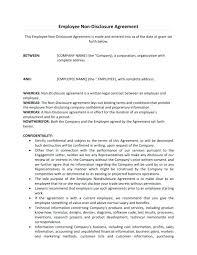 Employee Confidentiality Agreement Example. Company Employee ...