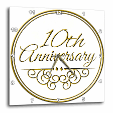 3drose 10th anniversary gift gold text for celebrating wedding anniversaries 10 tenth ten years together wall clock 10 by 10 inch walmart